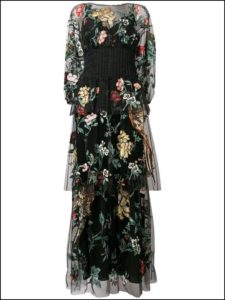 FENDI、floral bird tulle embroidered dress