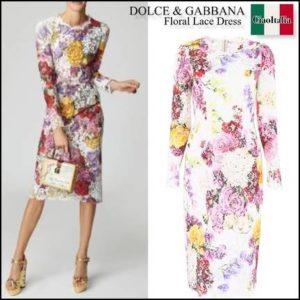 DOLCE & GABBANA、floral lace dress