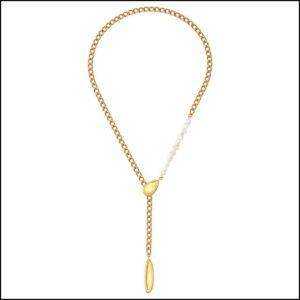 ADER.bijoux、BLOCK PEARL adjuster long necklace