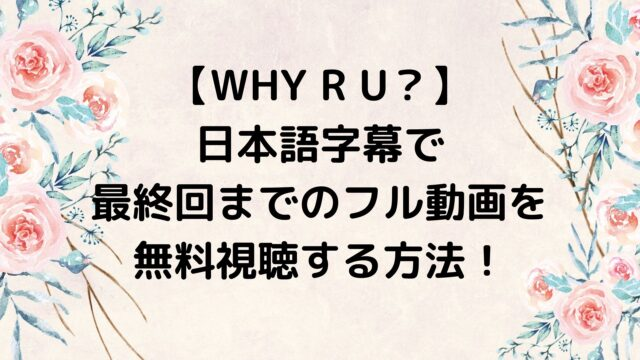 WHY R U?を日本語字幕で最終回までのフル動画を無料視聴する方法!