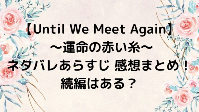Until We Meet Again 運命の赤い糸 ネタバレあらすじ 感想まとめ!続編はある?